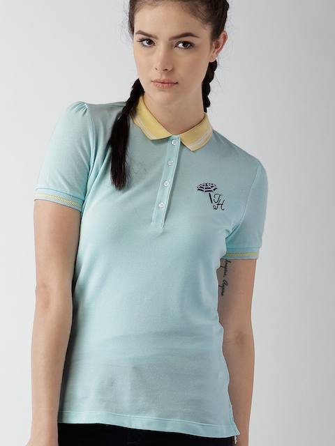 Tommy Hilfiger Women Blue Solid Polo T-Shirt