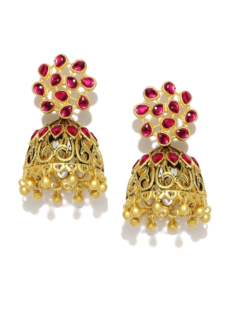 Zaveri Pearls Antique Gold-Plated Pink Jhumkas  available at myntra for Rs.399