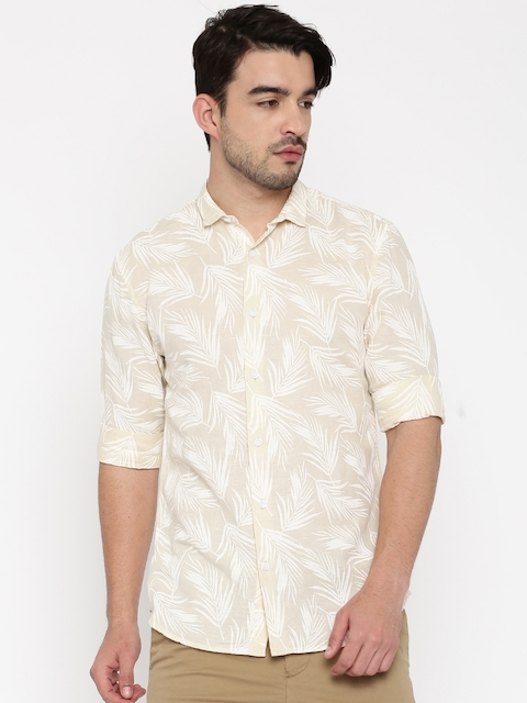 Jack & Jones Men Beige Slim Fit Tropical Print Casual Shirt