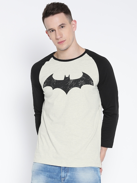 Batman Men Off-White Printed Round Neck T-shirt