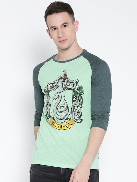 Harry Potter by Free Authority Men Green Printed Round Neck T-shirt