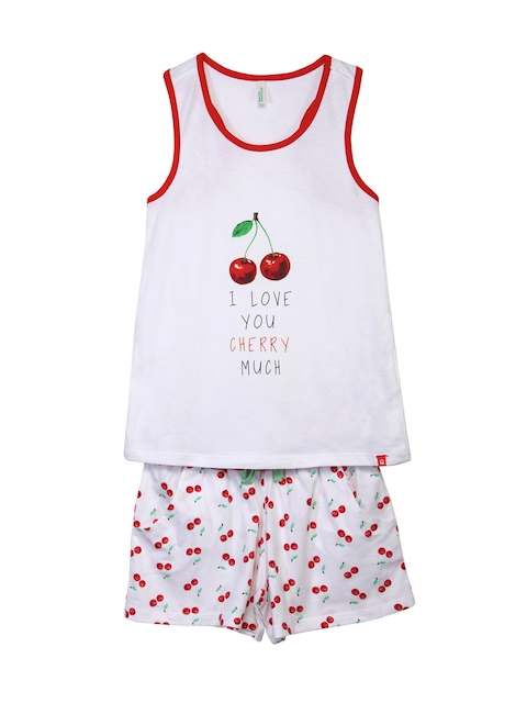 United Colors of Benetton Girls White Printed Lounge Set GL20I