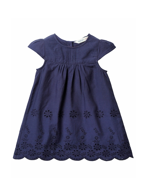 Beebay Girls Navy Schiffli Embroidered A-Line Dress