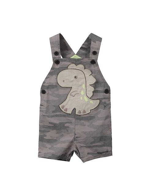 Beebay Boys Khaki & Grey Printed Dungarees