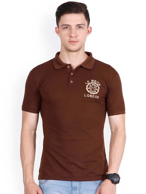 Le Bison Men Coffee Brown Solid Polo Collar T-shirt  available at myntra for Rs.299