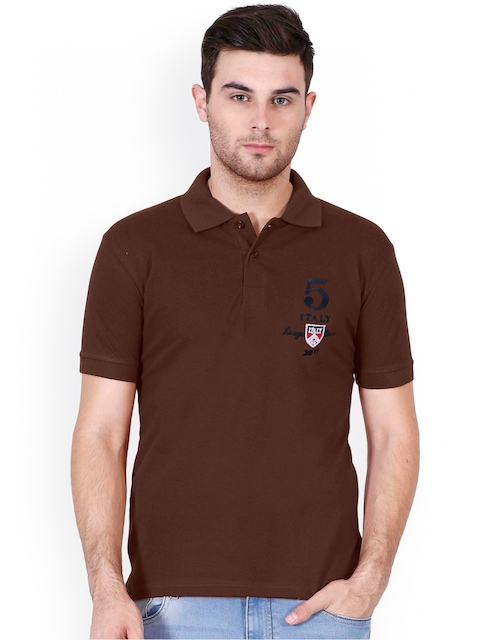 Le Bison Men Brown Solid Slim Fit Polo Collar T-shirt  available at myntra for Rs.299
