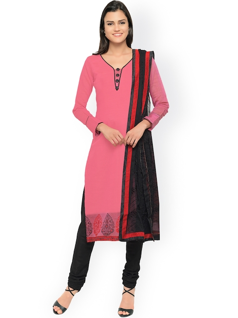 Touch Trends Pink & Black Semi-Stitched Dress Material