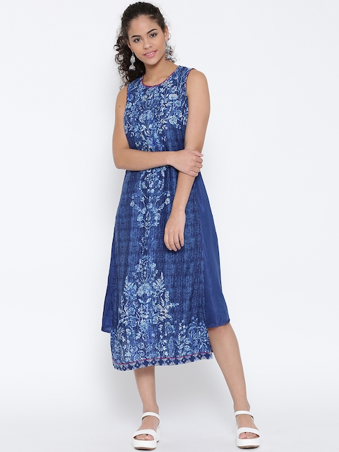 Biba Women Blue Printed A-Line Midi Dress