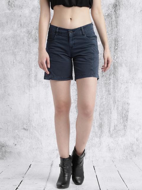 Roadster Women Blue Washed Regular Fit Chino Shorts