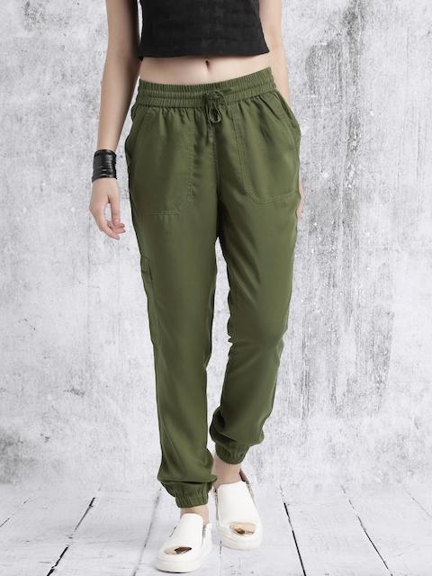 Roadster Women Olive Green Regular Fit Solid Joggers