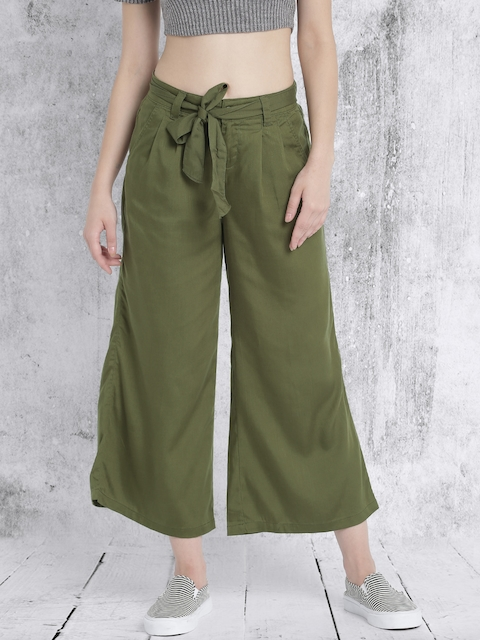 Roadster Women Olive Green Solid Flared Trousers