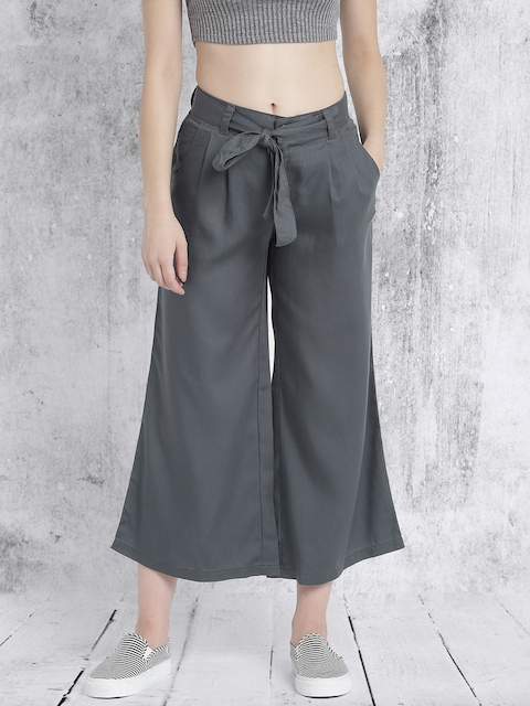 Roadster Women Blue Solid Flared Trousers
