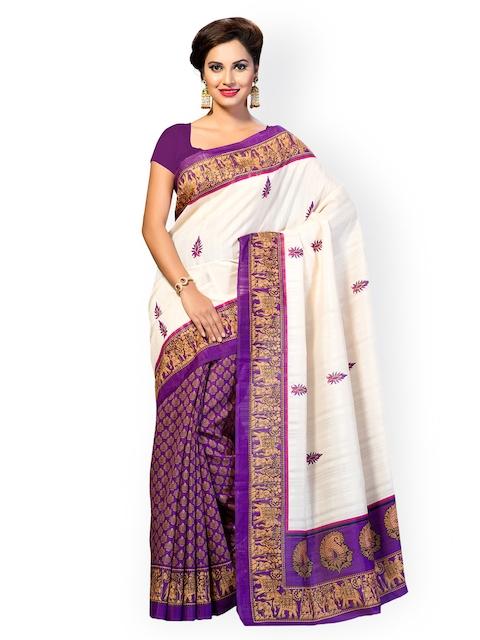 Ishin Beige & Purple Bhagalpuri Art Silk Traditional Saree