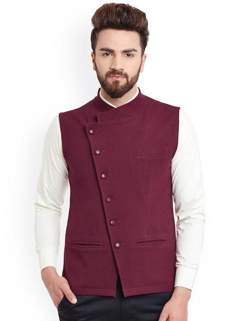 Hypernation Maroon Nehru Jacket
