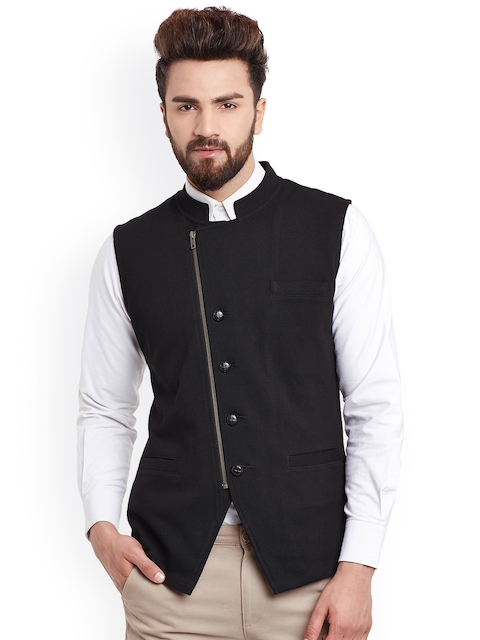 Hypernation Black Nehru Jacket