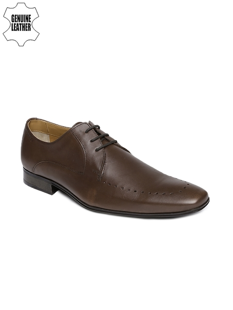Ruosh Work Men Brown Square-Toed Leather Semiformal Derby Shoes