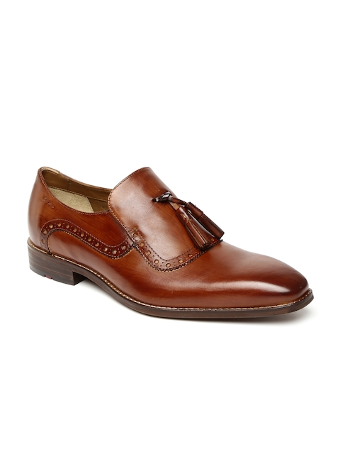 Ruosh Men Tan Brown Genuine Leather Semiformal Slip-Ons