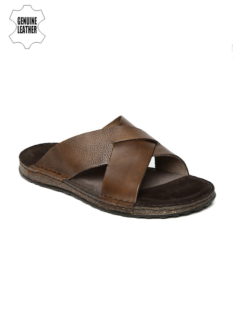 Ruosh Men Brown Genuine Leather Sandals