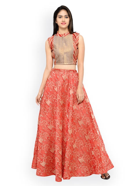 Inddus Peach-Coloured Banarasi Cotton Semi-Stitched Lehenga Choli
