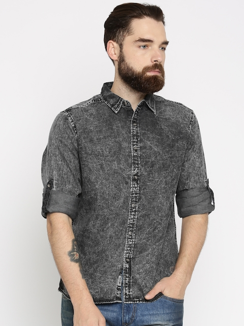 Roadster Men Charcoal Grey Regular Fit Faded Casual Shirt