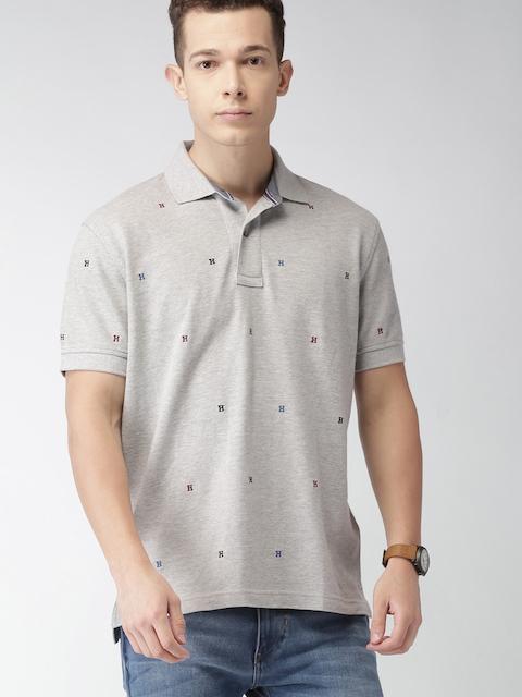 Tommy Hilfiger Men Grey Melange Solid Polo T-shirt