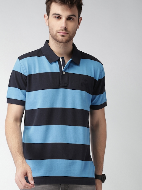 Tommy Hilfiger Men Blue Striped Polo T-shirt