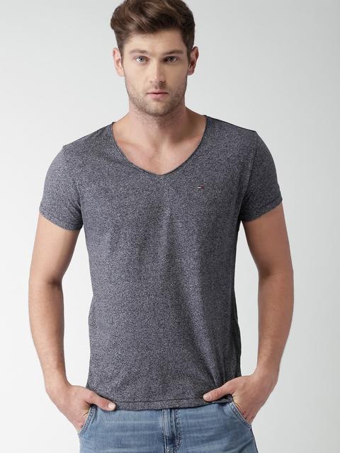 Tommy Hilfiger Men Black & Grey Solid V-Neck T-shirt