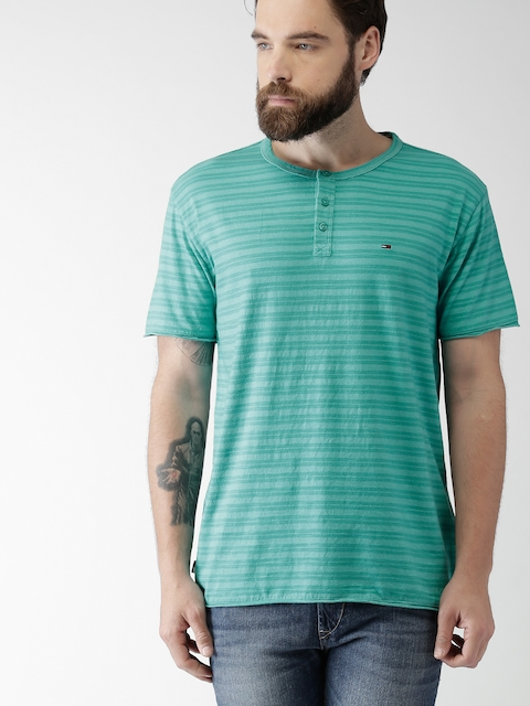 Tommy Hilfiger Men Green Striped Henley Neck T-Shirt