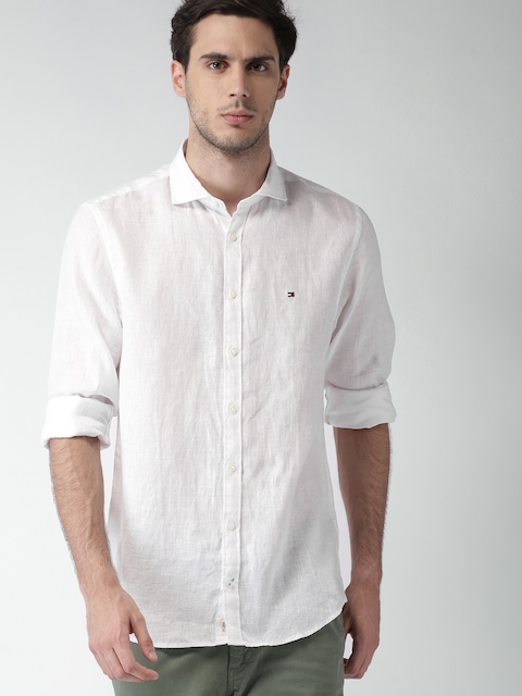 Tommy Hilfiger Men White Linen New York Fit Solid Casual Shirt