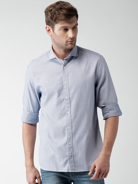 Tommy Hilfiger Men Blue Self-Design Casual Shirt