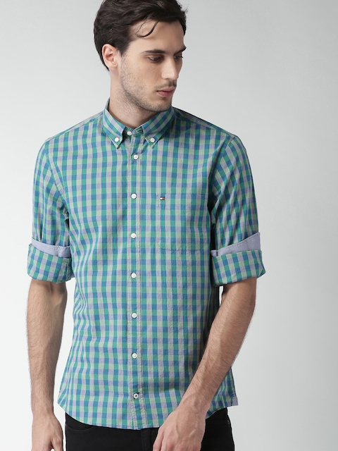 Tommy Hilfiger Men Blue & Green Checked Casual Shirt