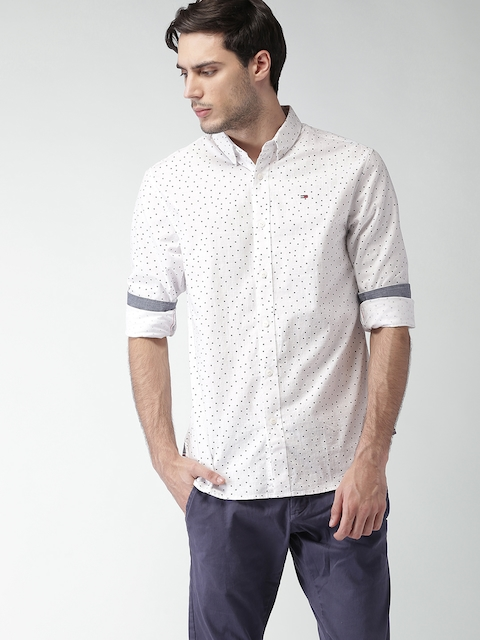 Tommy Hilfiger Men White Regular Fit Printed Casual Shirt