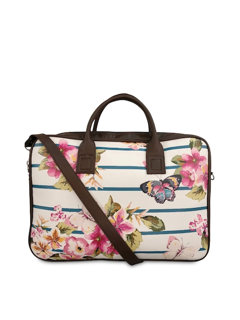 Toteteca Women Brown & Beige Floral Print Laptop Bag