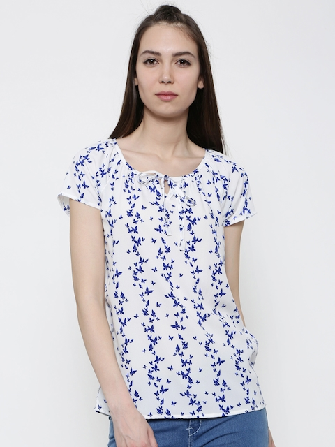 Honey by Pantaloons Women White & Blue Printed Top