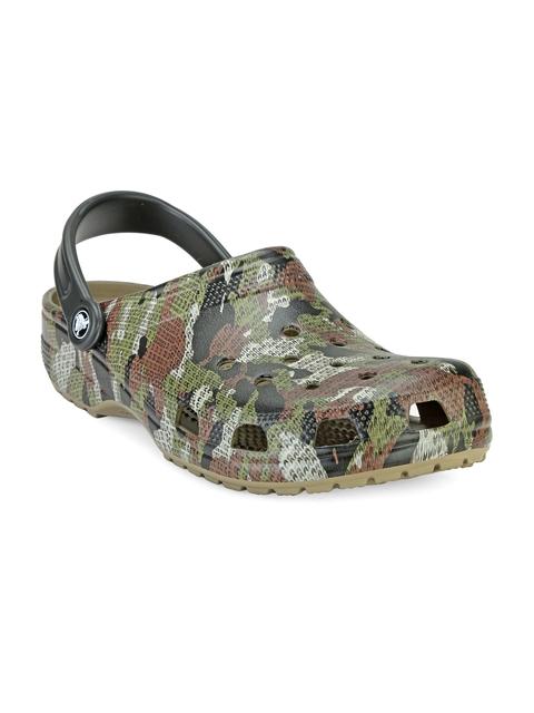 Crocs Men Brown & Green Camouflage Print Clogs