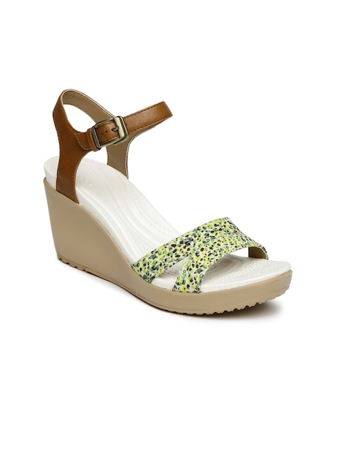 Crocs Women Yellow & Brown Printed Wedges