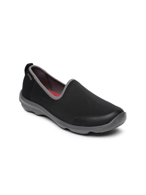 Crocs Women Black Solid Slip-On Sneakers
