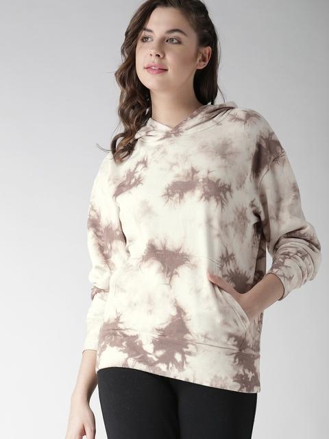 FOREVER 21 Women Beige & Taupe Printed Hooded Sweatshirt