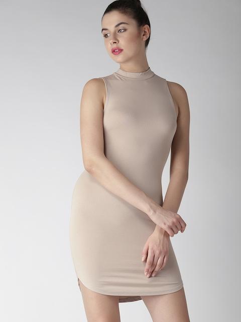 FOREVER 21 Women Beige Solid Bodycon Dress