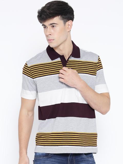 Monte Carlo Men Grey Melange & Burgundy Striped Polo T-Shirt