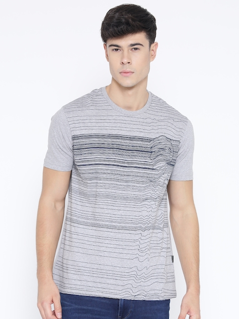 Monte Carlo Men Grey Melange Striped Round Neck T-Shirt