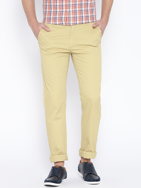 Monte Carlo Men Beige Patterned Smart Fit Chino Trousers