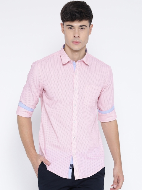 Monte Carlo Men Pink Slim Fit Printed Casual Shirt