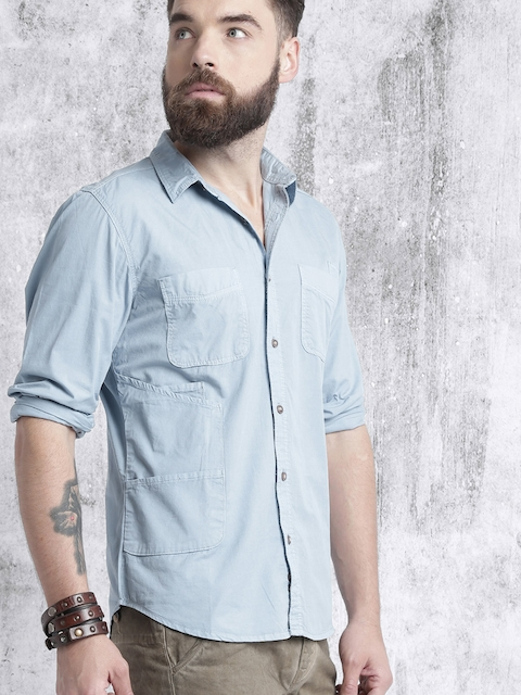 Roadster Men Blue Regular Fit Solid Casual Shirt