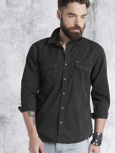 RDSTR Men Charcoal Grey Solid Casual Shirt