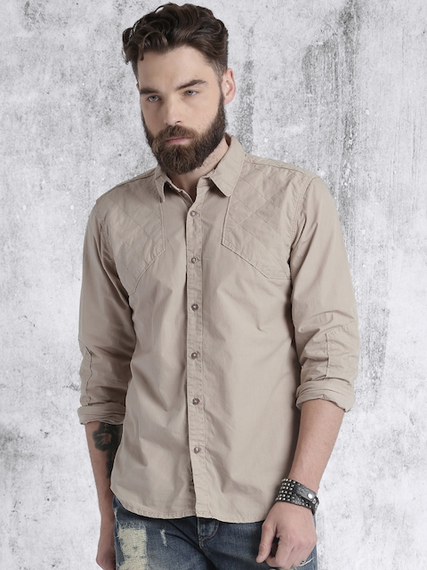 Roadster Beige Solid Casual Shirt