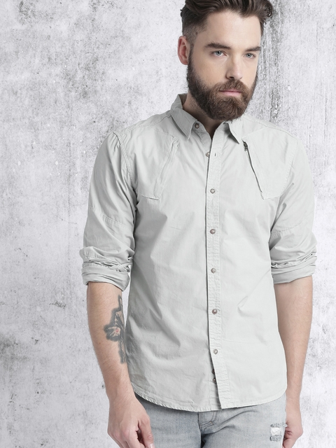 Roadster Men Grey Casual Shirt