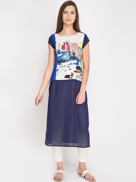 Vishudh Women Navy Printed Straight Kurta  available at myntra for Rs.299