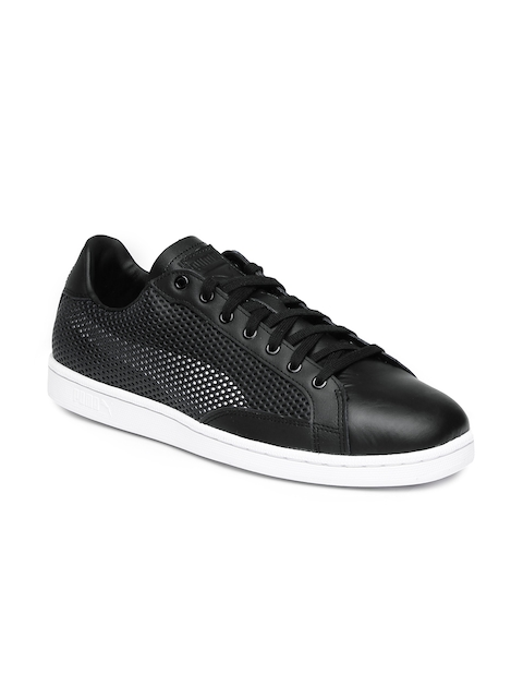 Puma Men Black Leather Match 74 Summer Shade Sneakers with Laser-Cuts