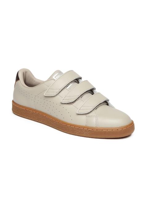 Puma Men Taupe Leather Basket Classic Strap CITI Sneakers